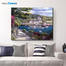 2017 new inkjet islands canvas painting home decorative Mediterranean Venice sailboat landscape paintings the living room(China)