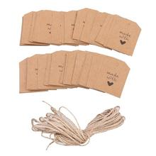 100pcs Made With Love Sign Paper Tag Wedding Favour Gift Tag Price Label With Twine