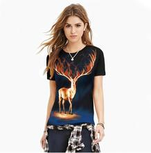 Funny Deer Digital Print T Shirts Women Men Short Sleeve O-Neck Tops Plus Size Women Clothing Couple Clothes