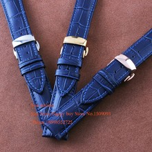 Blue Wristwatch WatchBand Crocodile Grain Leather Strap Silver Push Buckle 12mm 14mm 16mm 18mm 20mm 22mm free shipping wholesale