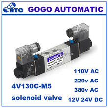 GOGO Pneumatic solenoid valve 4V130C-M5 Double coil Port M5 220V AC 5 way 3 position control valve with Plug type red LED light(China)