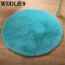 120cm Round Anti-Skid Carpet Fluffy Area Rug Shaggy Door Floor Mat Dining Room Home Bedroom Decoration Textiles Accessories(China)