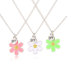 2017 Spring New Arrive BFF pendant pastel magnetic Flower necklaces Sliver chain Necklace For Girls Gift()