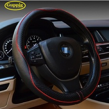 Top quality Genuine leather car steering wheel cover hot fashion line elegant luxury wheel covers38CM universal decoration 131(China)