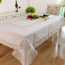 Kingart Hand White Cotton Hand Crochet Tablecloth Rectangle Embroidery tablecloth Set Cover For Wedding(China)