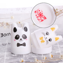 1 Pc 3.5cm Silicone Head Cute Panda Cat Design Nail Art Stamper with BORN PRETTY Nail Scraper Manicure Nail Art Stamping Set Kit