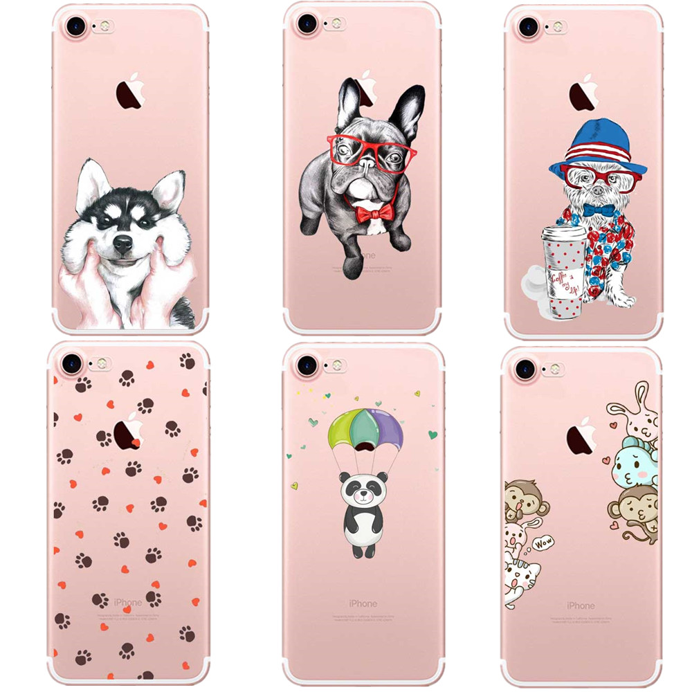 Cute Dogs Cat Animals with Glasses Pattern Case Cover For iphone 6 6S 5 5s se 7 7Plus Transparent Soft Silicone Cell Phone Cases(China)