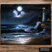 Beacon wave moon Landscape Mediterranean oil Painting Drawing art Spray Unframed Canvas Frameless action picture room 06123626