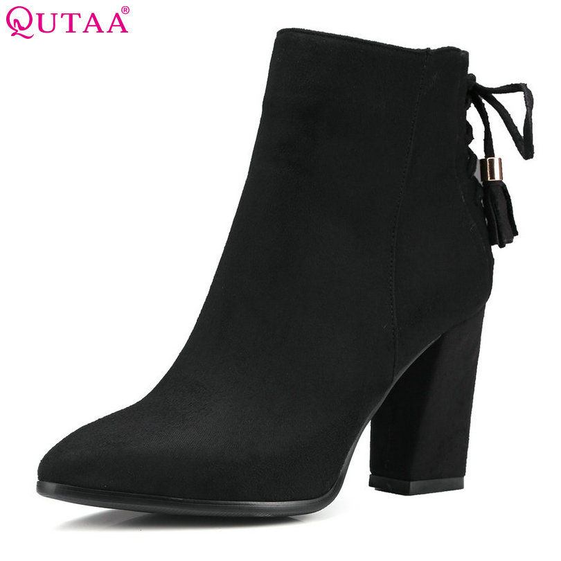 QUTAA 2016 Women Shoe Zipper Ladies Square High Heel Black Bow Tie All Match Ankle Boot Women Motorcycle Boots Size 34-43<br>