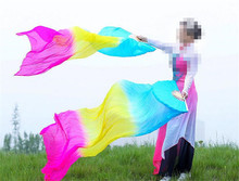 Women Belly Dance Fan Veil Hand Made Folding Purple White Adult 1 Pair 1.8m*0.9m Dancing Fan 3 Colors Gradient Free Shipping