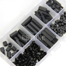 160Pcs M3 Nylon Black M-F Hex Spacers Screw Nut Assortment Kit Stand off Set Box #L057# new hot