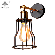 Loft Iron Industrial Wall Light Adjustable New Design E27 Holder Black Vintage Lamp for Home Decor Bar Cafe Restaurant Lighting(China)