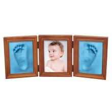 New Cute 3D DIY Baby Photo Frame Handprint Footprint Soft Clay Toy Triple Solid Wood Photo Brown Frame Ceremony Gift for Baby(China)