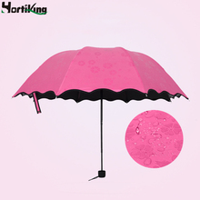 New Lady Princess Magic Flowers Sunshade Dome Parasol Sun/Rain Folding Umbrella Women Non Transparent Umbrella Rain Men 4 Color