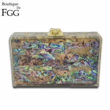 Natural Shell Multi Color Acrylic Evening Box Clutch Bag For Women Hard Case Party Dinner Chain Shoulder Messenger Handbag Purse