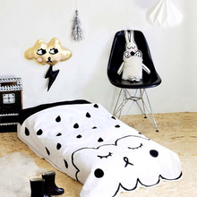 LEKU Ins Hot Sell Cotton White Clouds Baby Game Blanket Mat  Beach Mat  Baby Blanket Quilt  145*103cm
