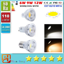 CREE COB GU10 E27 E26 E14 MR16 Dimmable Led 9W 12W 15W Spot Bulbs Light CRI>85 High Power Led Lights Lamp AC 110-240V