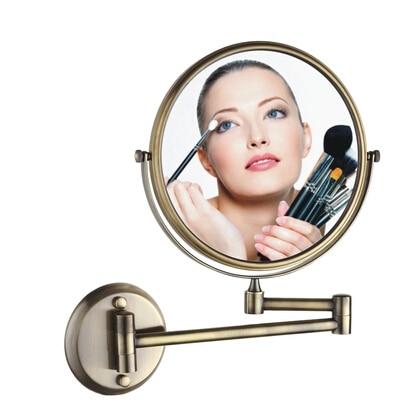 BECOLA antique beauty mirror European style luxury telescopic mirror Double bathroom mirror The bathroom wall magnifier<br>