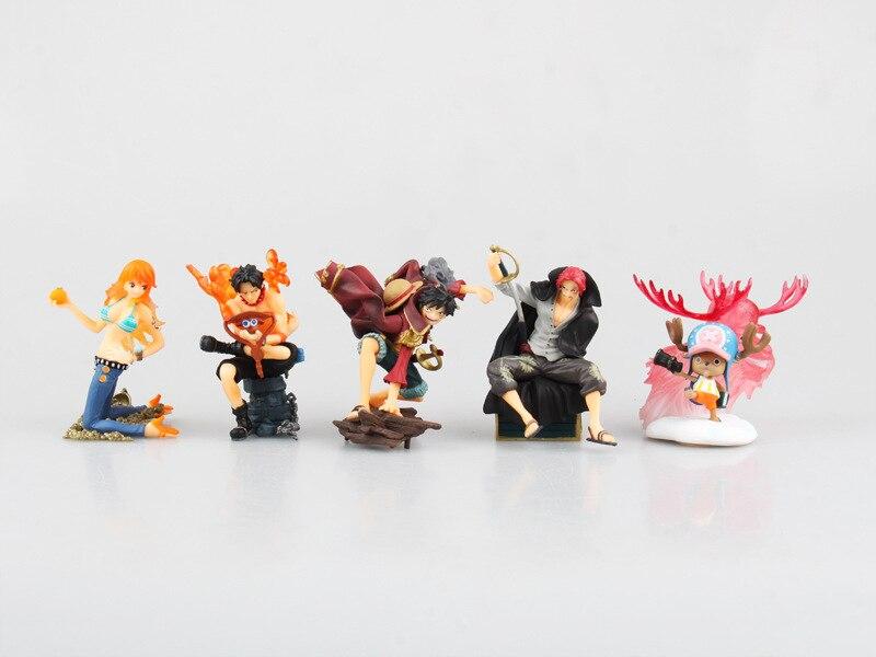 5pcs One Piece Luffy nami ace chopper Japanese Anime Monkey D childhood Onepiece New World Action Figure Toys Juguete 7cm PVC<br><br>Aliexpress