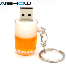 2017 Real capacity flash drive Plastic USB drives cute beer cup pendrives 4GB/8GB/16GB/32GB Personality gift flash memory(China)