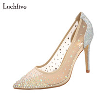 Buy Luchfive sexy bridal wedding shoes women bling bling sequins crystal studded pointed toe glitters mesh high heels pumps for $42.90 in AliExpress store