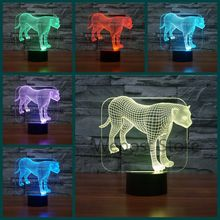 3D Animal Leopard LED Illusion Night Lights Colorful Acrylic USB Table Lamp Modern Leopard Decor Lighting For Home(China)