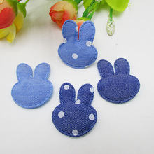 50pcs/lot 3.5cm rabbit ears star Kawaii Kids Patch, padded applique for Decoration, Clothing, DIY, Baby Garment Accessorie