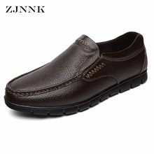 ZJNNK Bestselling Genuine Leather Men Loafers Shoes Hand Sewing Men Flats Shoes Casual Slip-on Men Shoes For Father(China)