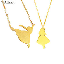 V Attract Childhood Girl Swing Charm Necklace 2017 Stainless Steel Chain Ballerina Pendant Alice In Wonderland Choker