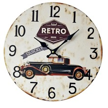 Fashion retro classic car nostalgic decoration wall clock silent wood clock restaurant decoration Electronic clock 35 * 35cm(China)