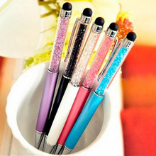 Cute Brand diamond Crystal ballpoint Pen Touch Screen Ball pen for Ipad Iphone Office Supplies Free shipping 023