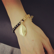 New Fashion gold color leather rope chain leaf charm bracelets Valentine's Day gift for women B3215
