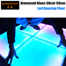 Gigertop TP-E25 50cmx50cm Armoured Glass Led Dancing Floor Frosted Toughened Glass IP65 Indoor/Outdoor RGB Leds DMX/Auto/Sound