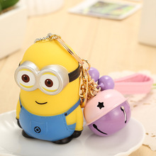 Fashion Lovely Cartoon Minions Keychain For Women Bag KeyRing Car Bells Cute PVC Chaveiro Key Chain Friends Girl Jewelry Gift(China)