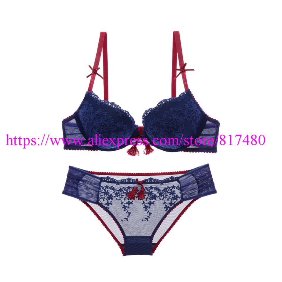 New Sexy Lace bra brief set gathered underwear Woman push up bra set,brassiere lingerie set summer thin bra sets 1