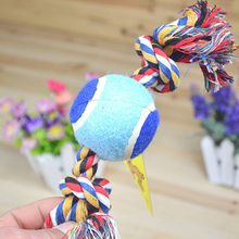 25cm Double Knots Tennis Ball Cotton Rope Pet Chew Toys Dog Toys For Small Large Dogs Train Tool P20(China)