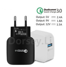 EU Plug 2.4A Quick Charge 3.0 (2.0) Wall USB Charger for iphone Xiaomi Samsung Fast Charger QC 3.0 Mobile Charger Phone Charger(China)