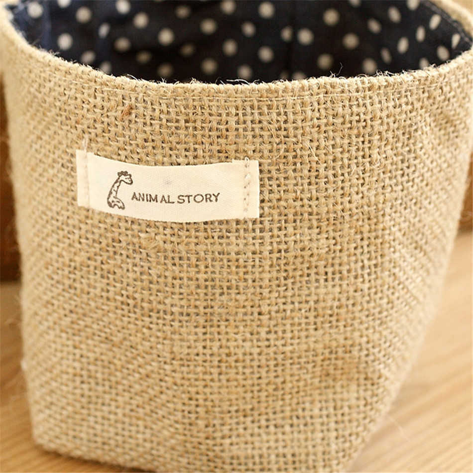 Linen Woven Storage Basket Polka Dot Small Storage Sack Cloth Hanging Non Woven Storage Basket Buckets Bags Kids Toy Box (5)