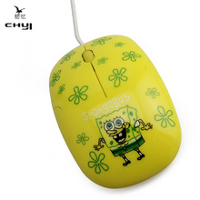 CHYI Lovely Kids Girl Yellow Color Cartoon Mouse 3D mini Wired Cute Optical Mause Mice 1600 DPI Gaming Mouse for Laptop Computer
