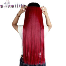 S-noilite Long purple red 66CM Clip in Hair Extensions One Piece Straight Synthetic Hairpiece 3/4 Full Head Hair Extension(China)