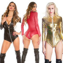 Buy S-3XL Plus Size Hot Sexy Lingerie Latex Pvc Jumpsuit Zentai Costume Women's Catsuit Pole Dance Playsuit Nightclub Bodysuit