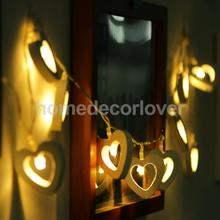 Romantic Wood Heart Shape Battery 10 Bulbs Operated Wire String Fairy Lights