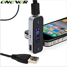 Onever Mini Wireless LCD 3.5mm In-Car Handsfree Car Kit Music Audio FM Transmitter USB For iPhone Electronic Car MP3 Player