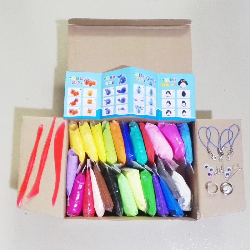 24 Colors DIY Soft Polymer Modeling Clay Kit With Tools Air Dried Custom Polymer Light Clay Toys Gift For Kids Educational Toy(China)