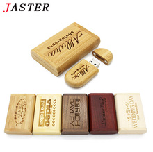 JASTER Wholesale LOGO customer Maple wooden box pendrive 8GB 16GB 32GB Memory Stick Flash Drive Pen Driver U Disk wedding gifts(China)