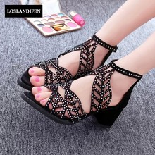 Summer New Womens Zipper Open Toe Sandal Hollow Out Rhinestone Block Heels Shoes Peep Toe For Dress Shoes Wedding Shoes