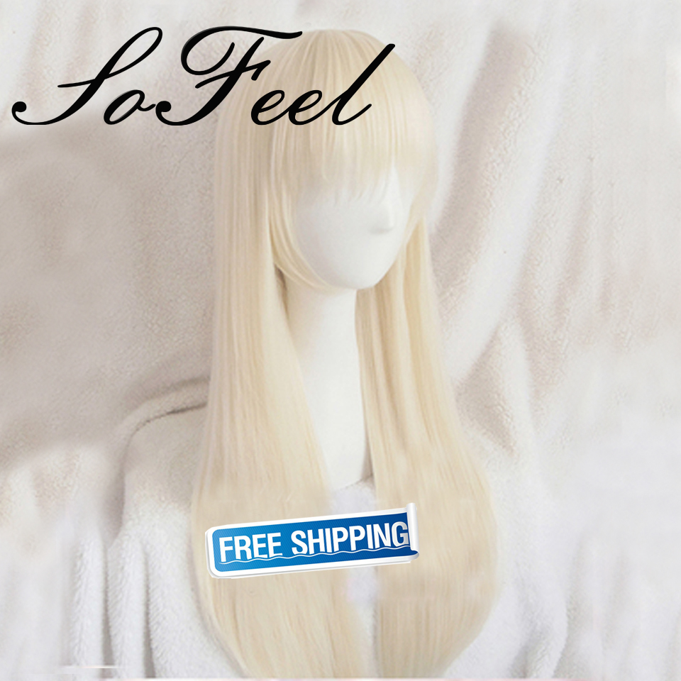 Sofeel cosplay wig Sunjing and Qiutong SQ long blonde straight wig Cosplay wigs high temperature fiber free shipping<br><br>Aliexpress