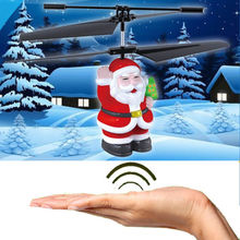 Christmas Gifts Electric Diecasts RC Plane Flying Santa Helicopter Infrared Induction Educational Aircraft Kids Toys Vehicles(China)