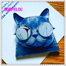 BOBFELOU  Acrylic Blue glasses cat cartoon Badge novelfor Fashion for Jewelry  handbags clothing accessories Brooches