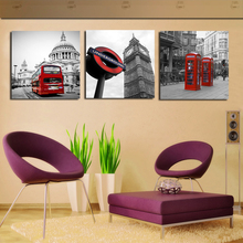 NEW DESIGN 3pcs Modern Wall Painting Home Decorative home  Art Picture Paint on Canvas Prints Telephone All Red Bus Clock